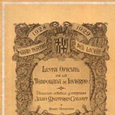Libretos de ópera: PROGRAMA GRAN TEATRO DEL LICEO TEMPORADA 1928-1929. Lote 212288750