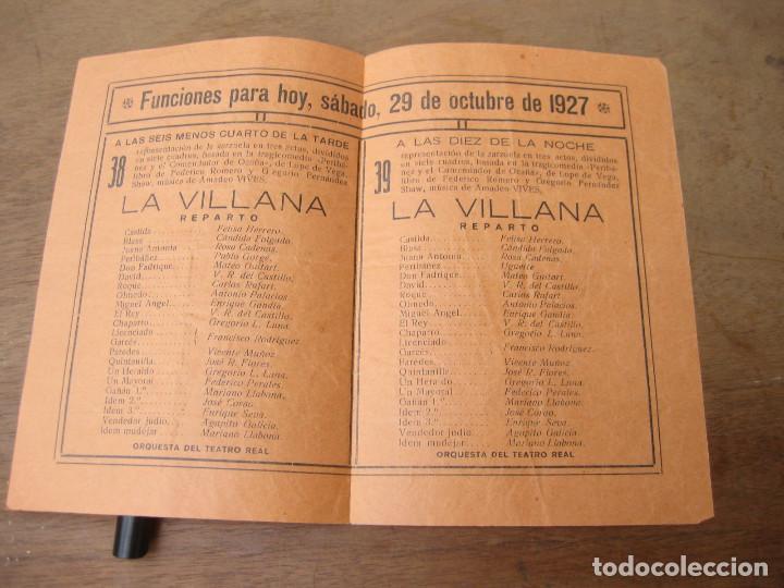 Libretos de ópera: Folleto con las funciones del 27 de octubre de 1927. Teatro de la Zarzuela. - Foto 2 - 214917172