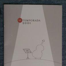 Libretos de ópera: PROGRAMA EL PRIMER PALAU TEMPORADA 2001. Lote 221719163