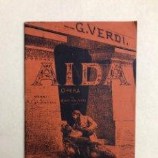 Libretos de ópera: MÚSICA. LIBRETO ÓPERA. AIDA - GIUSEPPE VERDI. RICORDI & C. Lote 241788665