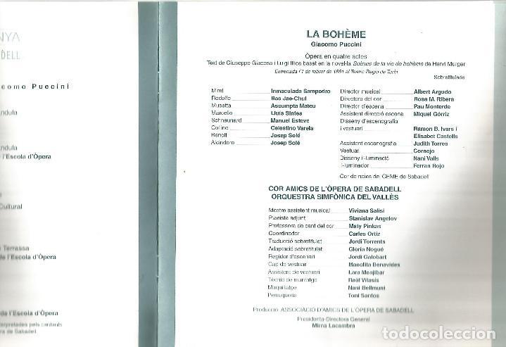 Libretos de ópera: PROGRAMA Y FOLLETO GUIA LA BOHEME OPERA GIACOMO PUCCINI GRAN TEATRE DEL LICEO DE BARCELONA - Foto 5 - 243794175