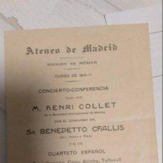Libretos de ópera: ATENEO DE MADRID (1911). Lote 248610030
