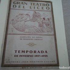 Libretos de ópera: TEATRO DEL LICEO DE BARCELONA 1927 LA CIUDAD INVISIBLE DE KITEGE, CON MIGUEL FLETA Y PEDRO LAFUENTE. Lote 262354745