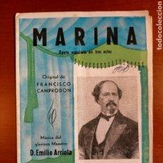Libretos de ópera: MARINA - PROGRAMA DE OPERA ESPAÑOLA. Lote 268306189