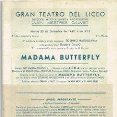 """Libretos de ópera: 1942 """"LICEO"""" - MADAMA BUTTERFLY DE PUCCINI - """"TOSHIKO HASSEGAWA - GUSTAVO GALLO"""" - PUBLICIDAD. Lote 269155143"""