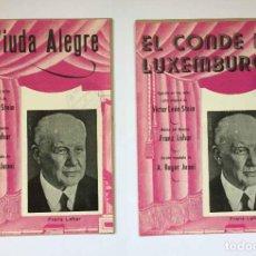 Libretos de ópera: 2 FOLLETOS LIBRETOS: FRANZ LEHAR. OPERETAS LA VIUDA ALEGRE Y EL CONDE DE LUXEMBURGO (MADRID, 1950'S). Lote 276025148