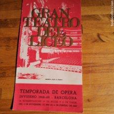 Libretos de ópera: TRÍPTICO DEL GRAN TEATRO DEL LICEO, TEMPORADA 1968 1969.. Lote 293856918