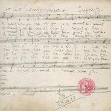 Partituras musicales: PARTITURA DE LA CAÇERA Y LA CAMPANA. DEL ORFEO GRACIENC. APEL.LES MESTRES. 1933. Lote 4702881