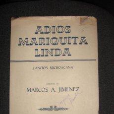Partituras musicales: PARTITURA. ADIOS MARIQUITA LINDA.. Lote 25760761