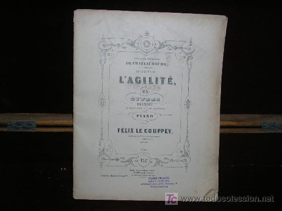 ANTIGUA PARTITURA. L'AGILITÉ. 25 ETUDES POUR PIANO. FELIX LE COUPPEY. ED. HAMELLE. PARIS (Música - Partituras Musicales Antiguas)