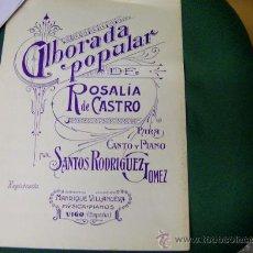 Partituras musicales: ANTIGUA PARTITURA MUSICA GALLEGA -ALBORADA POPULAR - CANTO Y PIANO - SANTOS RODRIGUEZ -. Lote 36197243