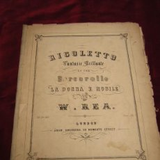 Partituras musicales: RIGOLETTO. FANTASIE BRILLANTE POR W.REA. Lote 25383876