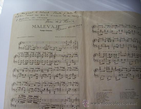 Partituras musicales: PARTITURA MALEVAJE - TANGO CANCIÓN DEDICADA Y AUTOGRAFIADA POR JUAN DE DIOS FILIBERTO - Foto 4 - 9537055