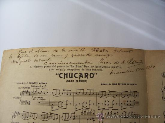 PARTITURA CHÚCARO - GATO CLÁSICO - AUTOGRAFIADA Y DEDICADA POR JUAN DE DIOS FILIBERTO (Música - Partituras Musicales Antiguas)