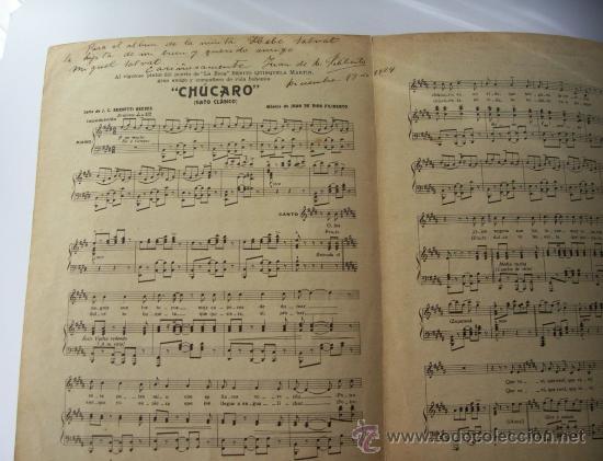 Partituras musicales: PARTITURA CHÚCARO - GATO CLÁSICO - AUTOGRAFIADA Y DEDICADA POR JUAN DE DIOS FILIBERTO - Foto 2 - 9537101
