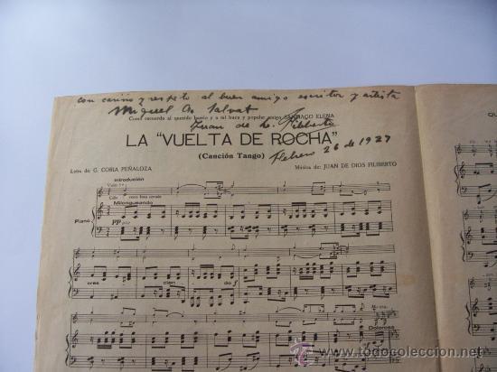 PARTITURA LA VUELTA DE ROCHA - CANCIÓN TANGO - DEDICADA Y AUTOGRAFIADA POR JUAN DE DIOS FILIBERTO (Música - Partituras Musicales Antiguas)