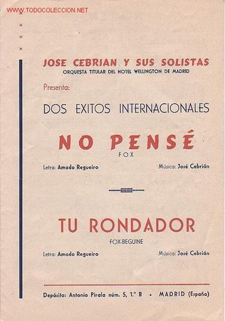 MAGNIFICO LIBRETO CON PARTITURAS DE FOX, JOSE CEBRIAN ORQUESTA TITULAR DEL HOTEL WELLINGTON,MADRID (Música - Partituras Musicales Antiguas)