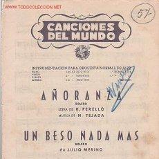 Partituras musicales: MAGNIFICO LIBRETO CON LAS PARTITURAS DE 2 BOLEROS,CANCIONES DEL MUNDO, DIRECTOR AUGUSTO ALGUERÓ. Lote 8891956