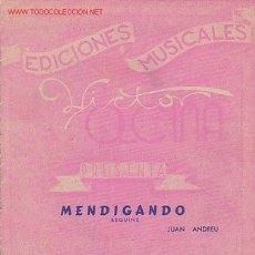 Partituras musicales: MAGNIFICO LIBRETO CON PARTITURAS,BEGUINE MENDIGANDO DE ANDREU. FOX-BOUNCE SIEMPRE EN FORMA DE JUNCA . Lote 12639458