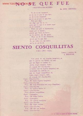 Partituras musicales: MAGNIFICO LIBRETO CON PARTITURAS:CHA-CHA-CHA,NO SE QUE FUÉ J.CHENOLL,SIENTO COSQUILLITAS,J.DIÉGUEZ - Foto 3 - 12639448