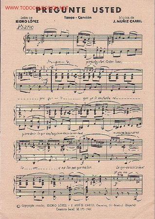 Partituras musicales: MAGNIFICO LIBRETO CON PARTITURAS DE DOS TANGO, COMO UN PELELE Y PREGUNTE USTED DE CARLOS PUCCINI - Foto 2 - 29893639