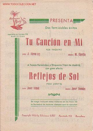 MAGNIFICO LIBRETO CON LAS PARTITURAS DE 2 FOX, TU CANCION EN MI Y REFLEJOS DE SOL (Música - Partituras Musicales Antiguas)