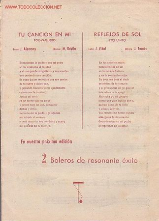 Partituras musicales: MAGNIFICO LIBRETO CON LAS PARTITURAS DE 2 FOX, TU CANCION EN MI Y REFLEJOS DE SOL - Foto 3 - 12639461