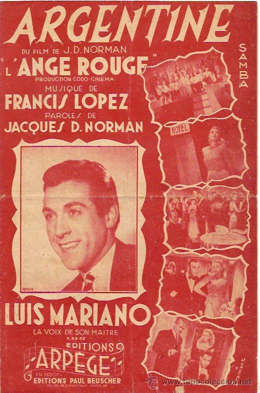LUIS MARIANO PARTITURA DE LA CANCION ARGENTINE. (Música - Partituras Musicales Antiguas)
