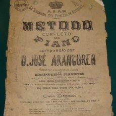 Partituras musicales: MÉTODO COMPLETO DE PIANO, D. JOSÉ ARANGUREN. LA SERENÍSIMA SEÑORA PRINCESA DE ASTURIAS. . Lote 14313516