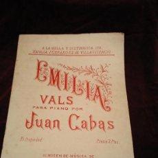 Partituras musicales: VALS PARA PIANO-JUAN CABRAS.A LA BELLA Y DISTINGUIDA STA.EMILIA FERNANDEZ DE VILLAVICENCIO.. Lote 21154304