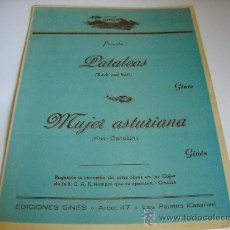 Partituras musicales: PARTITURA PIANO Y BATERIA. GINÉS: PATALEOS (ROCK AND ROLL). MUJER ASTURIANA (FOX-CANCIÓN) 1961. . Lote 24739296