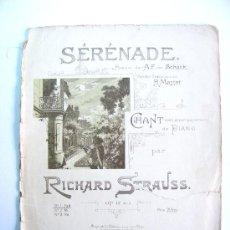 Partituras musicales: SERENADE, POESIE, VON SCHACK, MASSET, RICHARD STRAUSS, PARTITURA, RAHTER, LEIPZIG. Lote 26659612