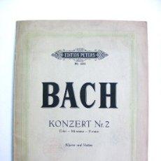 Partituras musicales: PARTITURA, PARA VIOLINE, PARTITURA, BACH, KONZERT NR.2, EDITION PETERS, KLAVIER UND VIOLINE. Lote 26409628