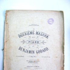 Partituras musicales: PARTITURA, DEUXIEME MAZURK, PIANO, BENJAMIN GOBARD, J. MAHO. Lote 26731089