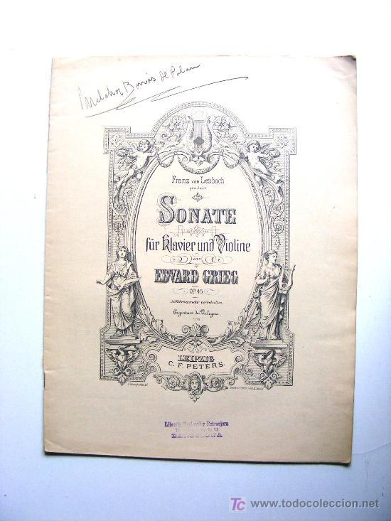 FRANZ VON LENBACH, SONATE, FUR RLAVIER UND VIOLINE, EDWARD GRIEG, LEIPZIG C.F.PETERS (Música - Partituras Musicales Antiguas)