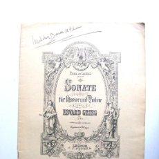 Partituras musicales: FRANZ VON LENBACH, SONATE, FUR RLAVIER UND VIOLINE, EDWARD GRIEG, LEIPZIG C.F.PETERS. Lote 17634723