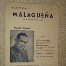 Partituras musicales: MALAGUEÑA, DE LA SUITE ESPAÑOLA ANDALUCÍA, DE ERNESTO LECUONA. 6 PÁGS. MÚSICA PARA PIANO. ED QUIROGA. Lote 139780321