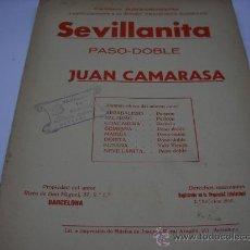 Partituras musicales: PARTITURA PARA PIANO Y VIOLIN. J. CAMARASA: SEVILLANITA. PASO-DOBLE. 3 HOJAS.. Lote 20660128