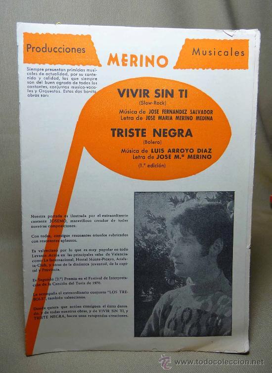PARTITURA, VIVIR SIN TI, TRISTE MEGRA, PRODUCCIONERS MUSICALES, MERINO, 1971 (Música - Partituras Musicales Antiguas)