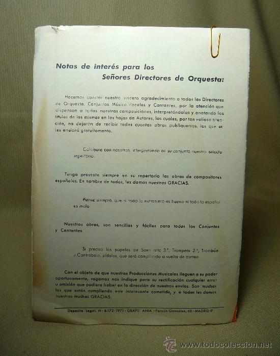 Partituras musicales: PARTITURA, VIVIR SIN TI, TRISTE MEGRA, PRODUCCIONERS MUSICALES, MERINO, 1971 - Foto 2 - 21695482