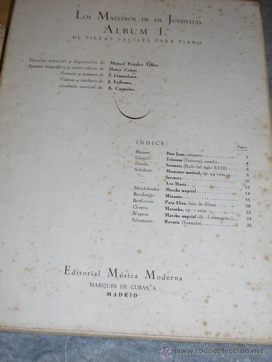 Partituras musicales: LOS MAESTROS DE JUVENTUD *ALBUM Nº 1* EDITORIAL MUSICA MODERNA - Foto 2 - 21948807