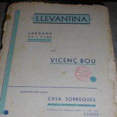Partituras musicales: PARTITURA PARA PIANO ** LLEVANTINA DE VIÇENS BOU ** CASA SOBREQUE - GIRONA. Lote 22083923