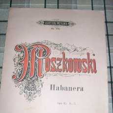 Partituras musicales: MOSZKOWSKI MAURICE - HABANERA - P/ PIANO A 4 MANOS - OPUS 65 Nº 3 EDITION PETERS Nº 3021 - ALEMANIA. Lote 31340964