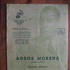 Partituras musicales: PARTITURA DE ADEOS MORENA Y AY YO NO QUIERO, INDIVIDUALIZADAS POR INSTRUMENTOS. Lote 22398697