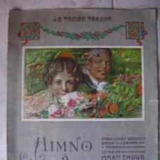 Partituras musicales: PARTITURA HIMNO DE VALENCIA. JOSE SERRANO.DEDICADO A D. TOMAS TRENOR. DIBUJO M. BENEDITO. . Lote 23665486