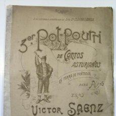 Partituras musicales: TERCER POT-POURRI DE CANTOS ASTURIANOS. VICTOR SAENZ. ASTURIAS. Lote 26112426