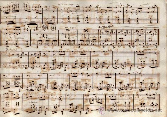 Partituras musicales: ANTIGUA PARTITURA MANUSCRITA - CAVALLERIA RUSTICANA - PRELUDIO Y SICILIANA - PIETRO MASCAGNI - Foto 2 - 26373609