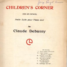 Partituras musicales: CHILDREND'S CORNER CLAUDE DEBUSSY. Lote 27220904
