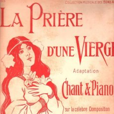 Partituras musicales: PARTITURA DE LA PRIERE DE UNE VIERGE - BADARZEWSKA. Lote 27656994