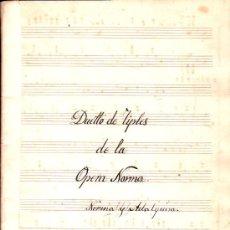 Partituras musicales: PARTITURA DE DUETTO DE TIPLES DE LAOPERA NORMA - NORMA Y ADALGUIRA. Lote 27657023